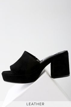 46bbe60fde9 Relax Black Suede Leather Mules