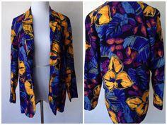 Vintage 80s Floral Blazer | Floral Blouse | 80s Blouse | Small  80s Blouse | Sz 4 | Casual Blazer | James River Traders | Floral Print