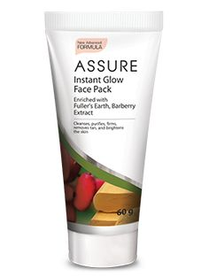 Assure Instant Glow Face Pack is a unique combination of natural ingredients that helps to clarify skin from deep within. The Fuller's earth and kaolin clay cleanses the skin of impurities and helps to reveal a natural glow. It is enriched with barberry extract that helps to calm, heal and rejuvenate the skin leaving it healthy and luminous.
