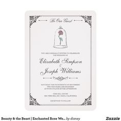 This elegant Beauty and the Beast fairy tale wedding invitation features the enchanted magical rose along with a vintage ornate frame. Personalize this invitation with all your wedding details.