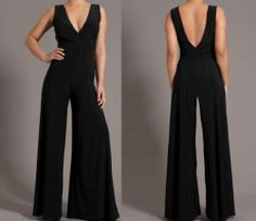 Sexy Black Double V Neck Open Back Wide Leg Palazzo Pants Dress Jumpsuit S   eBay