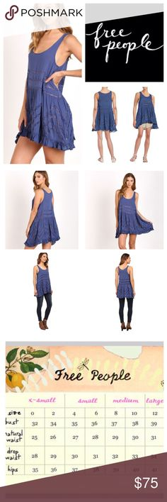 """Free People Trapeze Slip Dress.  NWT. Free People Waterfall Combo Pin Dot Trapeze Slip Dress, 100% rayon, lace trim 100% nylon, washable, 18.5"""" armpit to armpit (37"""" all around), 32"""" shortest center length, 36"""" longest side length, unlined, sheer lace panel accents, ruffle hem, sleeveless, asymmetrical hem, pullover style, measurements are approx.  NO TRADES Free People Dresses Mini"""