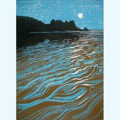 """Night Tide,"" Lee Stevenson (British), Linocut, 350 x 260 mm. Linocut Prints, Art Prints, Block Prints, Gravure Photo, Gravure Illustration, Linoprint, All Nature, Art Graphique, Artist Gallery"