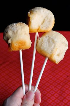 A twist on the cake pop... PIZZA POPS! Just use the pizza bites recipe and insert a stick!