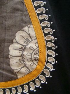 Hand Embroidery Videos, Embroidery On Clothes, Embroidery Suits, Saree Blouse Neck Designs, Dress Neck Designs, Applique Designs, Embroidery Designs, Simple Blouse Pattern, Mirror Work Blouse