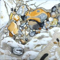 Sandy Rock pool - Hand painted silk textile embroidery