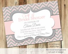 Pink Gray Chevron - Bridal Shower invitation - any event birthday shower Invitation - PRINTABLE Invitation Design. $18.00, via Etsy.