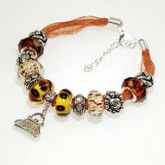 European Charm Bracelet Handmade Amber Brown Handbag by BekisBeads
