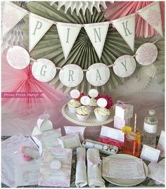 Pink and Gray Damask Baby Shower Printables w. BONUS GAMES - Complete set - DIY Party Supplies and Decorations