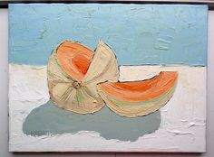 Impressionist Summer Garden CANTALOUPE Melon Painting Original Art Lynne French Free Shipping 12x16