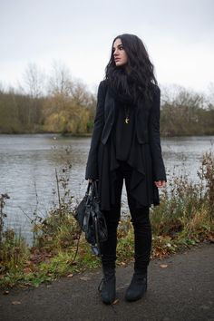 Stephanie of FAIIINT wearing Todd Lynn x Topshop tux jacket, LOVE in love with fashion drape drop side top, Meltin Pot B-side reversible emma jeans, Kurt Geiger strut wedges, ASOS snood, Balenciaga city bag. All black outfit, gothic, casual.