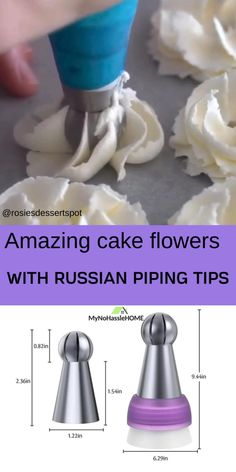 cake decorating videos Russian Icing Piping Tips Russian Decorating Tips, Cake Decorating Techniques, Cake Decorating Tutorials, Frosting Tips, Frosting Recipes, Cake Recipes, Flower Cake Decorations, Cake Flowers, Buttercream Flowers Tutorial