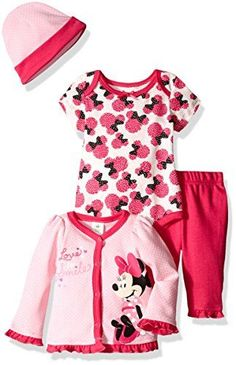 Disney Baby Girls 4Piece Minnie Mouse Cardigan Set with Bodysuit Pink 03  Months -- More 2f07b271e