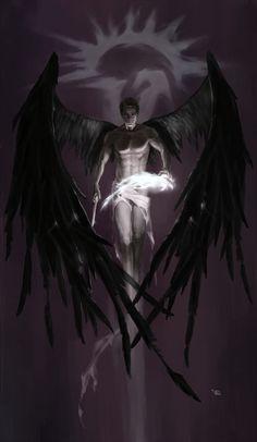 Castiel fan art by 野生ID Fantasy Kunst, Dark Fantasy Art, Fantasy Artwork, Dark Art, Male Angels, Angels And Demons, Supernatural Fan Art, Demon Art, Demon Dean