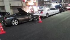 Ferrari California crashes into two limousines :(