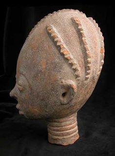 """Asante Terracotta Funerary Head - PF.3902 Origin: Ahinsan, Ghana Circa: 17 th Century AD to 19 th Century AD  Dimensions: 10"""" (25.4cm) high ..."""