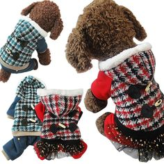 2 Colors Winter Pet Dog Clothes Buttons Hoodie Sweater Coat Warm Plaid Clothes for Dogs Pet Supplies(red/blue)