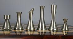 Copper/Steel Contemporary chessmen