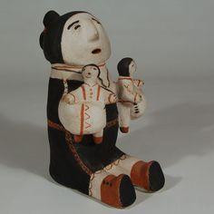 Female Figurine with 2 Children in Her Arms by Felipa Trujillo (1908-1986) Cochiti Pueblo Item # C3688.68