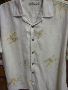 TOMMY BAHAMA Mens Camp Shirt 100% Silk Tropical Floral Hawaiian XL Short Sleeve #TommyBahama #Hawaiian