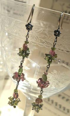 Orecchini fairy tormalina rosa e verde, pendenti, argento 925