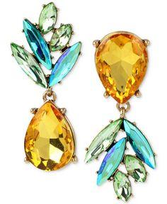 Betsey Johnson Gold-Tone Crystal Pineapple Mismatch Earrings