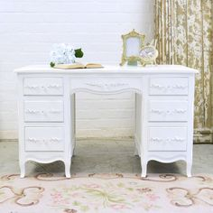 Shabby Cottage Chic 7 Drawer Writing Desk by TheBellaCottage