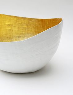 Paper Mache  Vessel in White and Gold - The Wavy - Made to order. $26.00, via Etsy.