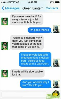 Green Lantern and Batman -texts from superheroes
