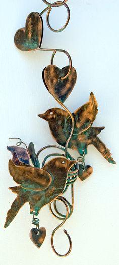 Plant Holder Bird Garden Art Copper Metal Yard by GardenCopperArt, $59.95