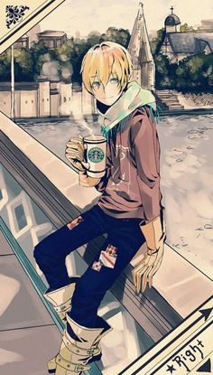 "Akihiro [Writing Takes You Away] ""Um.. Akihiro.. what are you doing?"" ""Oh ya know. Sipping coffee and daydreaming on a bridge."" >."