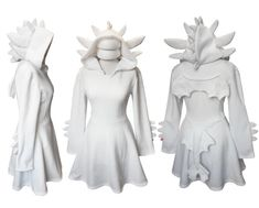 White dragon cosplay dress costume, gothic goth style dress with long sleeves, wings, ears and dragon tail Light Fury dragon Toothless dress cosplay! Cosplay Dress, Cosplay Outfits, Costume Dress, Toothless Costume, Dragon Costume, Pyjamas, Dragon Party, White Dragon, How Train Your Dragon