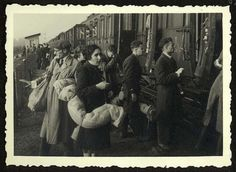 Westerbork, Holland, Jews boarding a deportation train to Auschwitz.