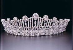Princess Sibilla of Luxembourg's Art Deco tiara, thought to have been a gift from her parents at the time of her wedding to Prince Guillaume of Luxembourg. converts from its full size down to a more petite version by removing the top portion of the diadem.