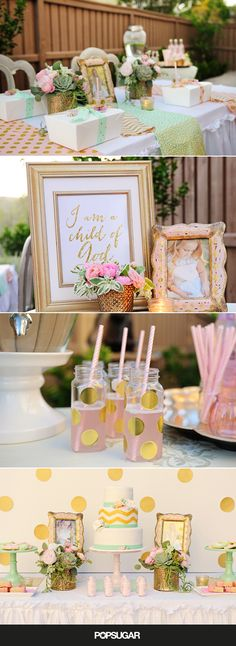 A pink-and-mint-green color scheme with an accents of gold would make for the perfect palette for a little girl's backyard celebration.