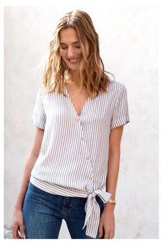 Super t-shirt refashion summer tops Ideas Blouse Styles, Blouse Designs, Umgestaltete Shirts, Diy Vetement, Diy Mode, Mode Top, Shirt Refashion, Couture Sewing, Refashioning