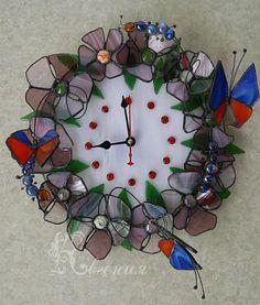 """Часы """" Веночек"""" - часы настенные,часы необычные,авторские часы,витражные часы"""