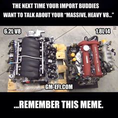 Yeah, guess which one is STILL lighter (hint: - Today Pin Truck Memes, Car Jokes, Funny Car Memes, Car Humor, Nissan, Us Cars, Race Cars, Mechanic Humor, Mechanic Shop