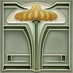 Art Nouveau Stylised & Geometric Ceramic Tile ref 011