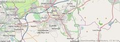 A detailed map of the town of Accrington in the UK.