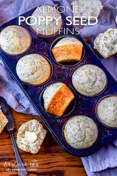 Almond poppy seed muffins are light, fluffy, and a perfect combination of flavor! Make a double batch and freeze some for a quick breakfast on-the-go. Best Breakfast Recipes, Breakfast Bake, Sweet Breakfast, Breakfast Casserole, Poppy Seed Muffin Recipe, Simple Muffin Recipe, Muffin Recipes, Baking Recipes, Just Desserts