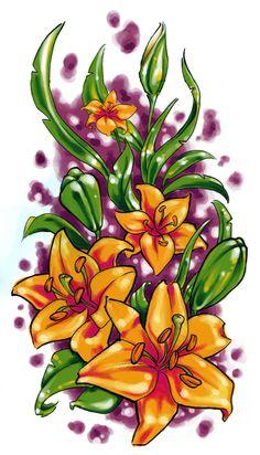 Tattoo sketch, lilies #tattoo #tattoossketch #sketch