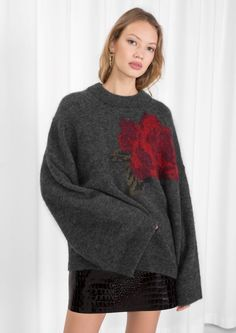 1806efe0c0 Other Stories image 2 of Rose Jacquard Sweater in Grey Graphic Sweaters