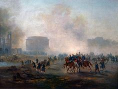 """Gustave Boulanger: """"La Villette cernée par les troupes versaillaises, mai 1871"""", c.1871, oil on canvas, Musée Carnavalet, Paris."""