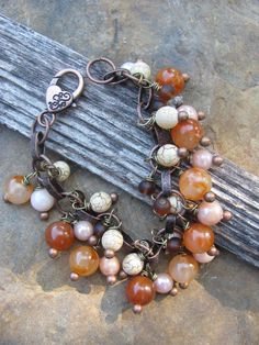 Charm Bracelet in Browns by brendalou2 on Etsy, 25.00