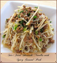 Recipe Stir-Fried Shirataki Noodles with Spicy Ground Pork by Cooking-Gallery - Petit Chef