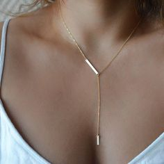 Gold Bar Lariat Necklace Delicate Y Necklace Bar Drop by foressti, $42.00