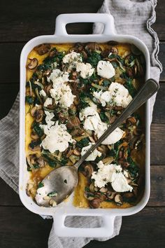 Ricotta Goat Cheese Polenta Bake with Mushrooms, Greens, and Caramelized Onions 21 Mouthwatering Vegetarian Christmas Mains That Are Not Lentil Loaf Polenta Recipes, Veggie Recipes, Vegetarian Recipes, Dinner Recipes, Cooking Recipes, Dinner Ideas, Veggie Dinners, Meal Recipes, Vegetarian