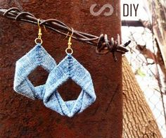 Upcycled Denim Earrings DIY Jewelry Tutorial by Upmade