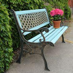 Wrought iron painted garden bench from Ruby Rhino UK